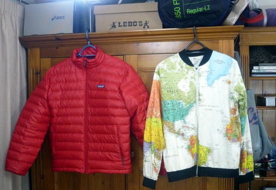 world map jacket with patagonia jacket
