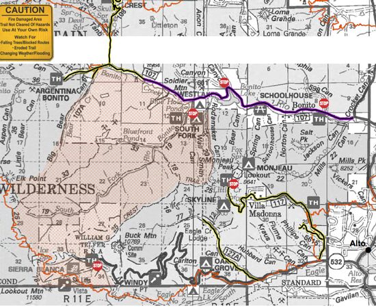 White Wilderness fire closure map