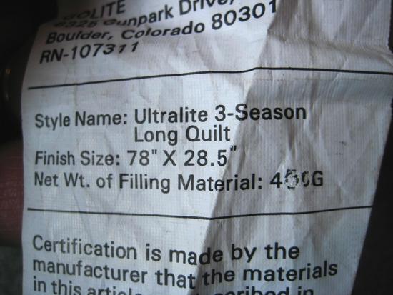 Golite Ultra 20 tag