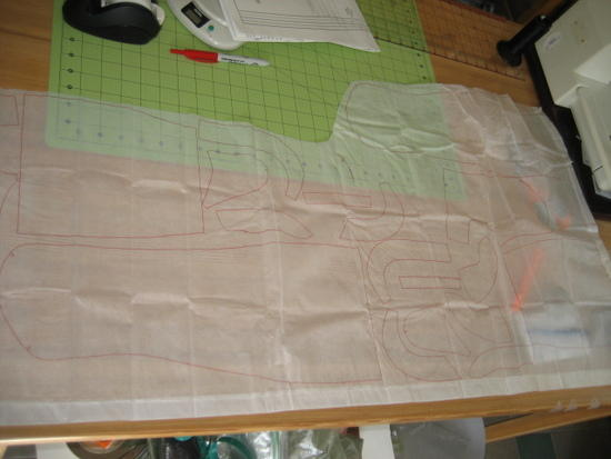 Panels traced out onto lightweight FroggToggs fabric