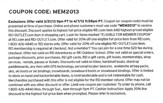 REI Exclusions