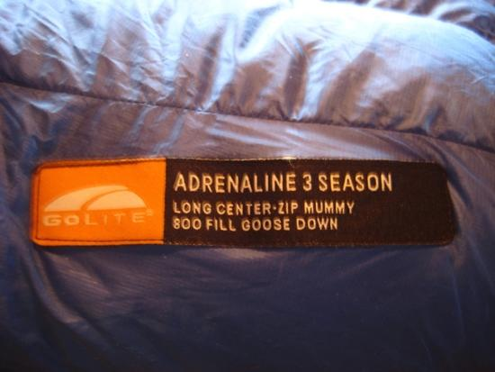 Golite Adrenaline 3S label