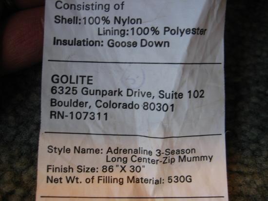 Golite Adrenaline 3S tag
