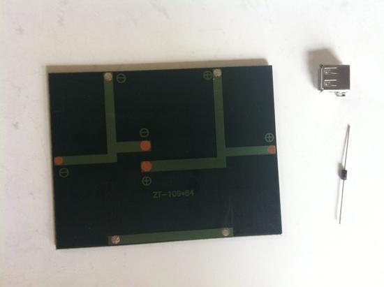 solar cell, diode, and USB port