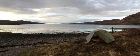 scotland tent at end of loch north coast