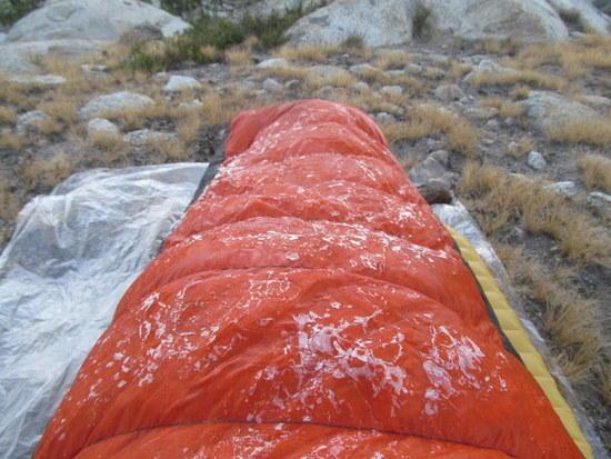 Frost on sleeping bag