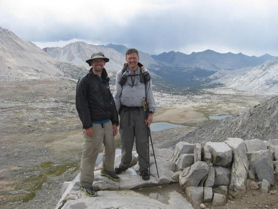 Andrew and Manfred on Mather Pass with Palisade Lakes in Background