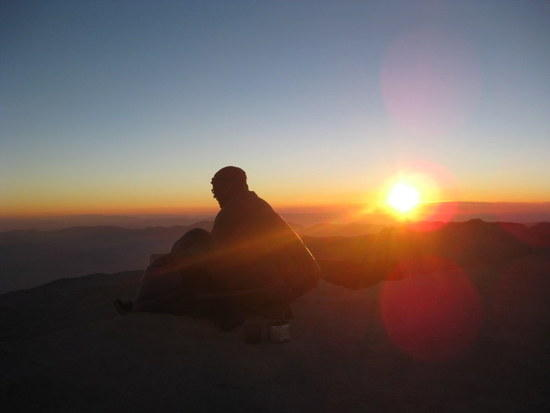 Andrew during sunrise on Mt. Whitney