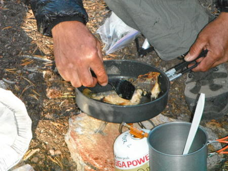 Frying fish with FM 117t and MSR skillet