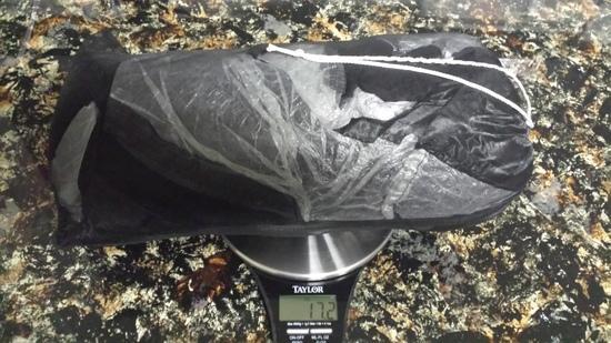 17.2 ounces in stuff sack.
