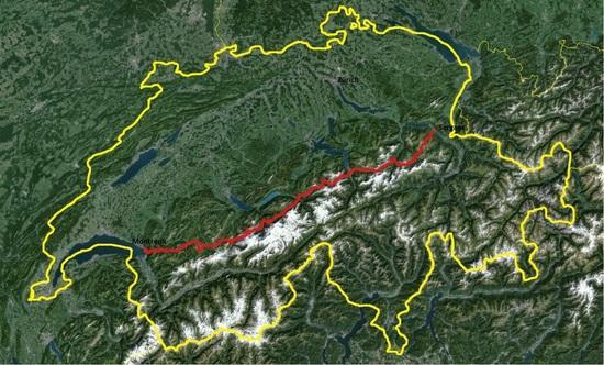 route across Switzerland