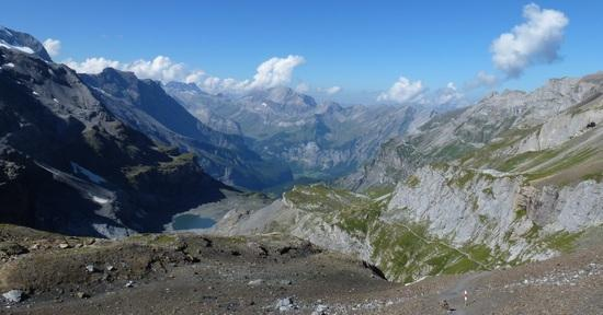 "view back to Kandersteg with ""Heartlake"" on the left"