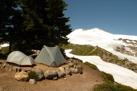 Campsite with view of Mt. Baker