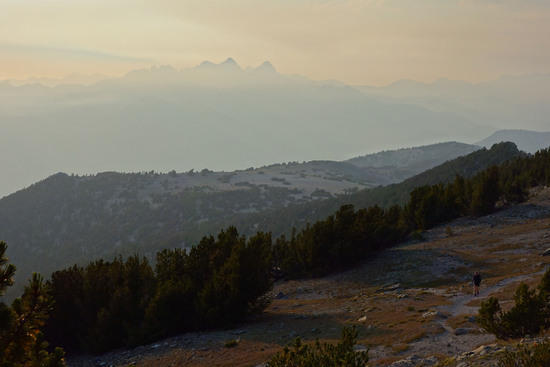 Mt. Ritter and the Minarets shrouded in smoke as seen from the Mammoth Crest