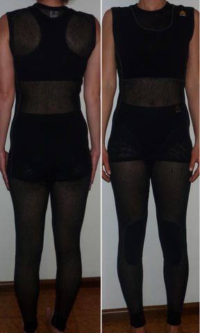 Womens Aclima Wool Mesh Top and Bottom modeled