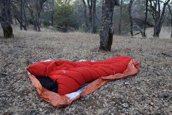 Emergency Blanket as Ground Sheet
