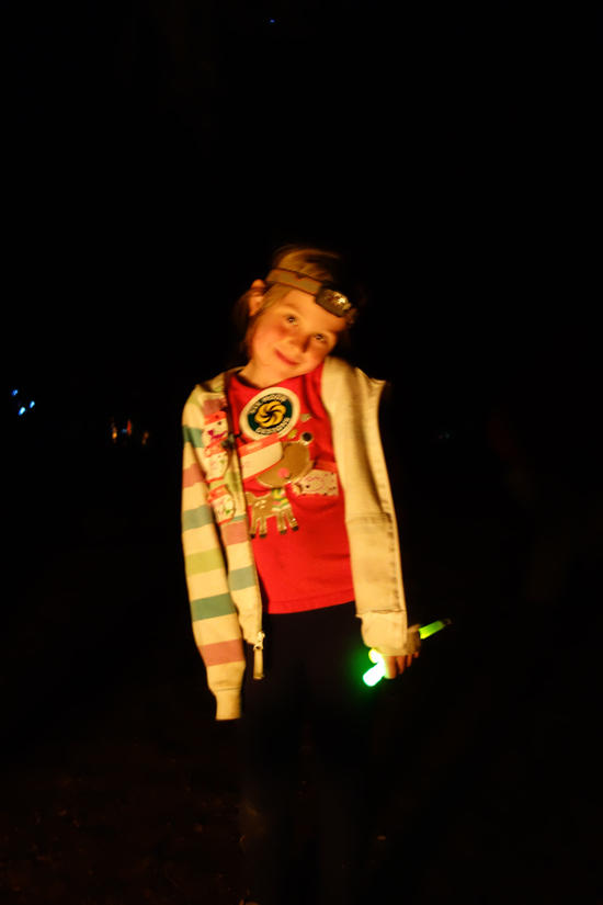 Child's Play with Glow Sticks and Headlights