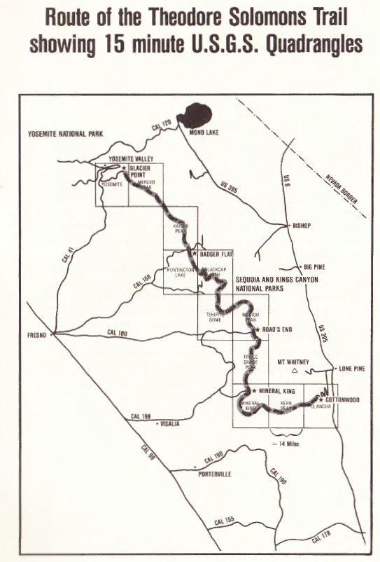 Route of the TST showing 15 min USGS Quadrangles