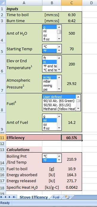 Stove Efficiency screenshot
