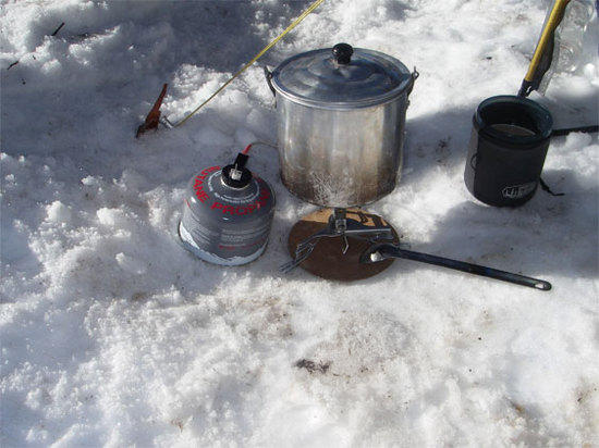 RC stove on snow