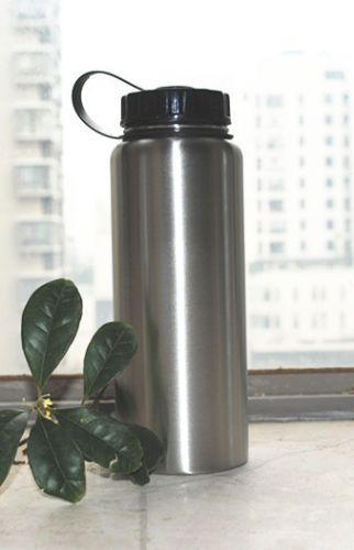 Stainless Steel wide-mouth 1 liter bottle for sale on Ebay
