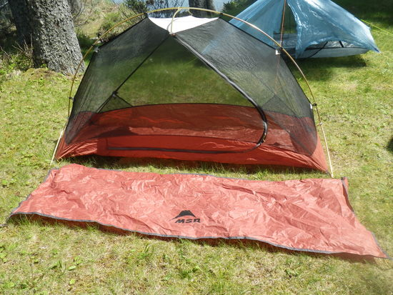Inner tent w/stake loops 17.2 oz. Pole 12.1 oz. Footprint 5.3 oz. Pole stuff sack 0.7 oz. Tent stuff sack 1.2 oz & FS: MSR Hubba 2nd (?) Gen - 1-person free-standing tent ...