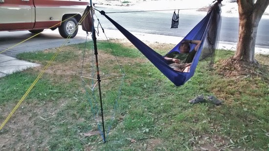 hammock stand truss rig hammock under load     hanging a hammock with adjustable trekking poles    backpacking light  rh   backpackinglight